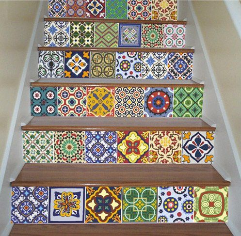 sticker autocollant carrelage pour escalier d coration mexicaine pack avec 48 10 x 10 cm. Black Bedroom Furniture Sets. Home Design Ideas