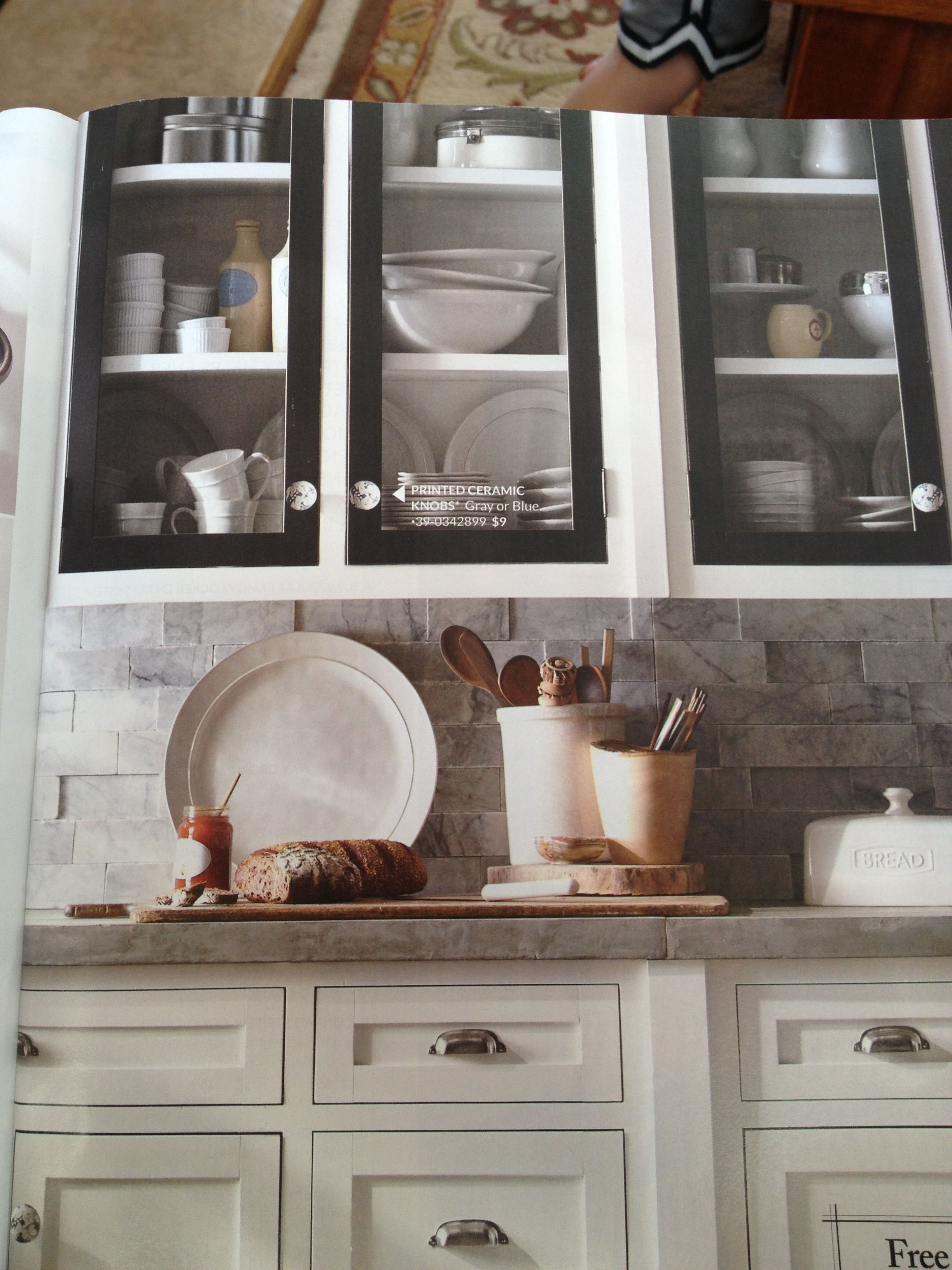 Pottery Barn Catalog Love The Black And Glass Insets With Images Home Kitchens