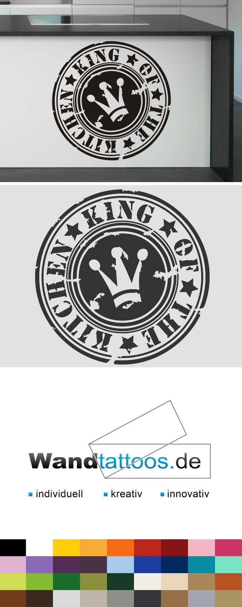 Wandtattoo Button King of the kitchen als Idee zur individuellen Wandgestaltung. Einfach Lieblingsfarbe und Größe auswählen. Weitere kreative Anregungen von Wandtattoos.de hier entdecken!