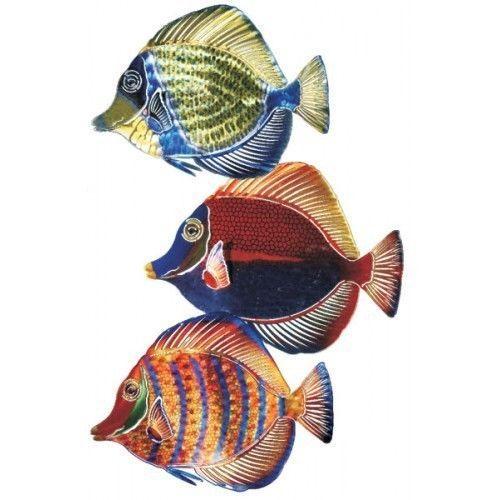 New set of 3 angel fish metal wall art tropical decor beach decorations ebay
