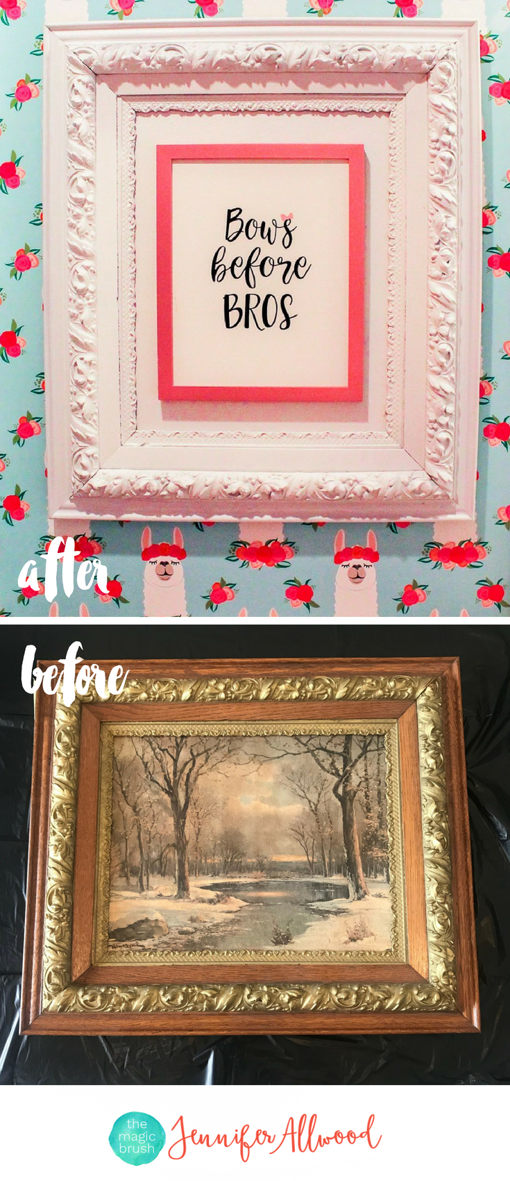 Thrift Store Frame Makeover - How to Frame Small Art Prints to be Beautiful and Oversized by Jennifer Allwood - Repurposed Picture Frame Ideas #diy #repurposed #walldecor #girlart #upcycled #hobbylobbyfinds Girls Bathroom Art -