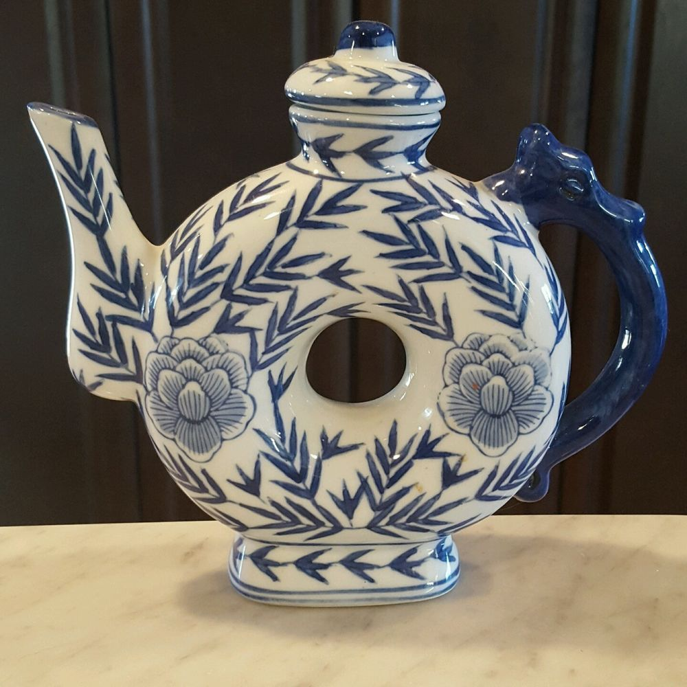 Vintage Chinese Round Donut Hole Teapot Dragon Handle Blue White Fl