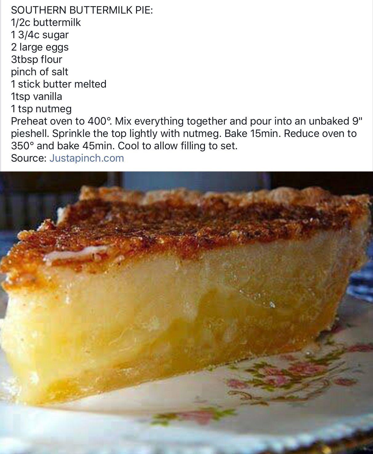 Pin By Deborah Lindley On Desserts Desserts Buttermilk Pie Buttermilk Pie Recipe