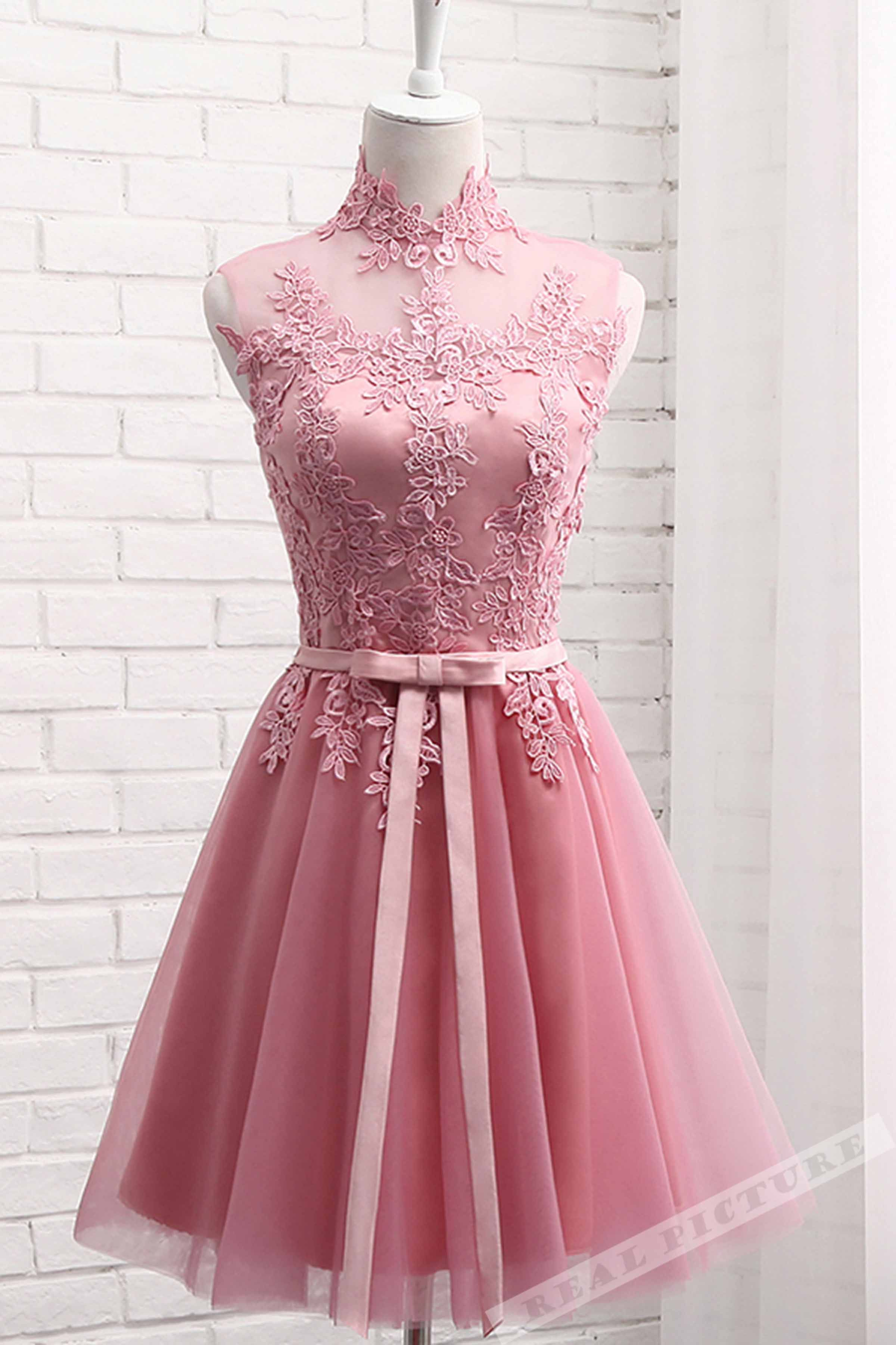 Pink tulle lace applique high neck seethrough short prom dresses