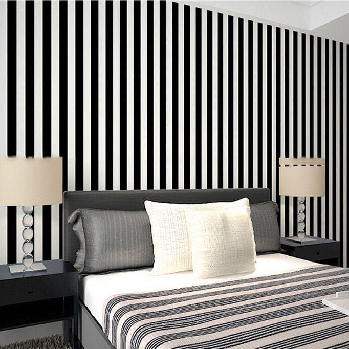 Cheap Zebra largo a strisce in bianco e nero pvc carta da