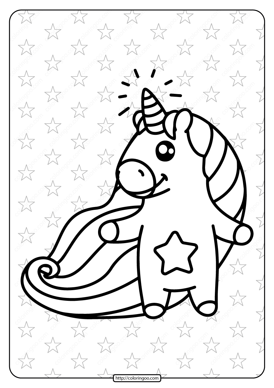 Printable Unicorn With Star Belly Coloring Page Unicorn Coloring Pages Unicorn Printables Coloring Pages