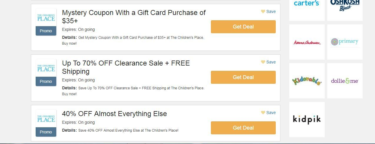 50 Percent Off Children S Place Coupon Code Childrens Place Coupons Childrens Place Coupons