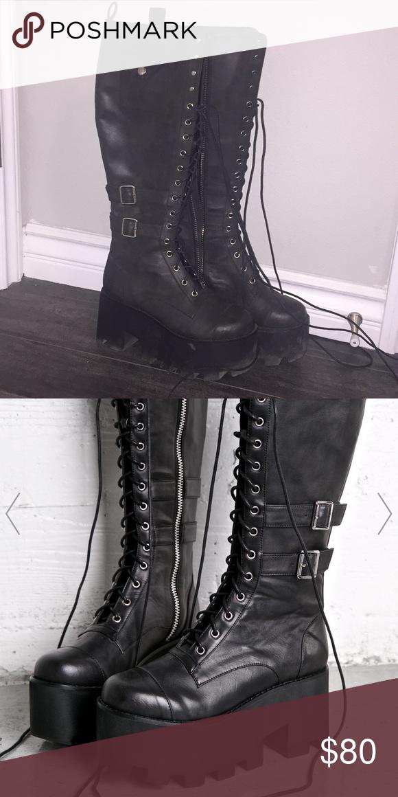 87b83e7b4d910 Jane Doe Boots (Current Mood) DOLLSKILL 🔥 Black knee high burner boots  Dolls Kill Shoes Lace Up Boots
