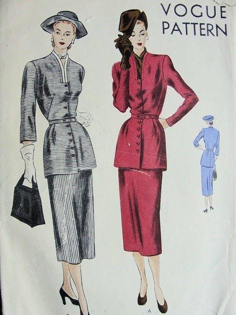 1940s 2 PC DRESS PATTERN STYLISH TUNIC TOP LOVELY SHAPED SLIT NECKLINE, SLIM SKIRT VOGUE PATTERNS 6194