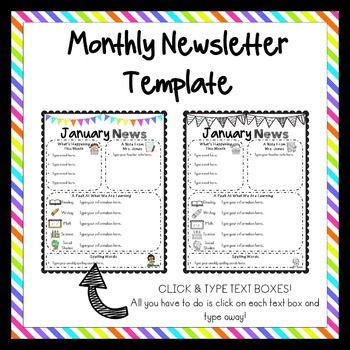 Editable Newsletter Templates - Simple Neon Brights Edition! FREEBIE ...