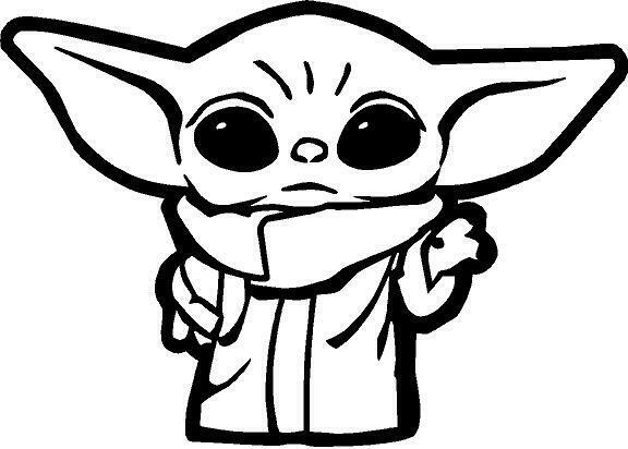 Baby Yoda Outline Vinyl Decal Sticker Cute In 2020 Star Wars Stickers Star Wars Drawings Yoda Sticker