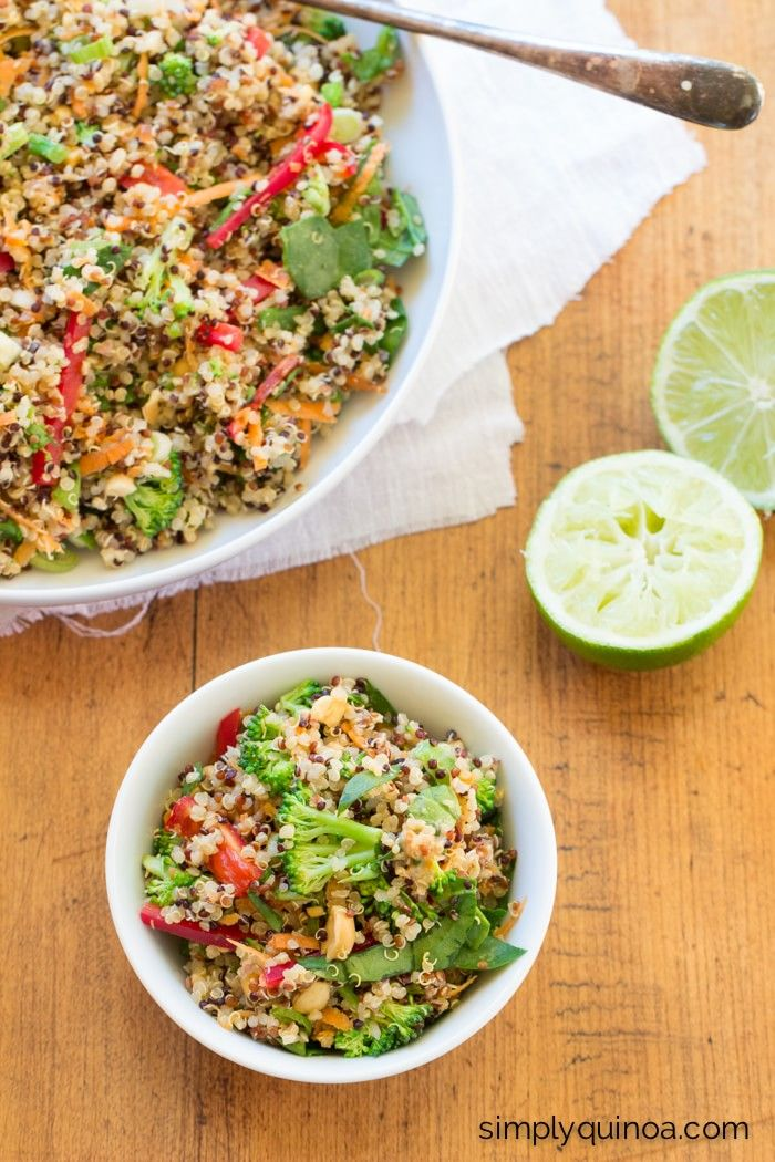 Clean Eating Peanut Thai Quinoa Salad with crunchy veggies and a creamy peanut butter dressing