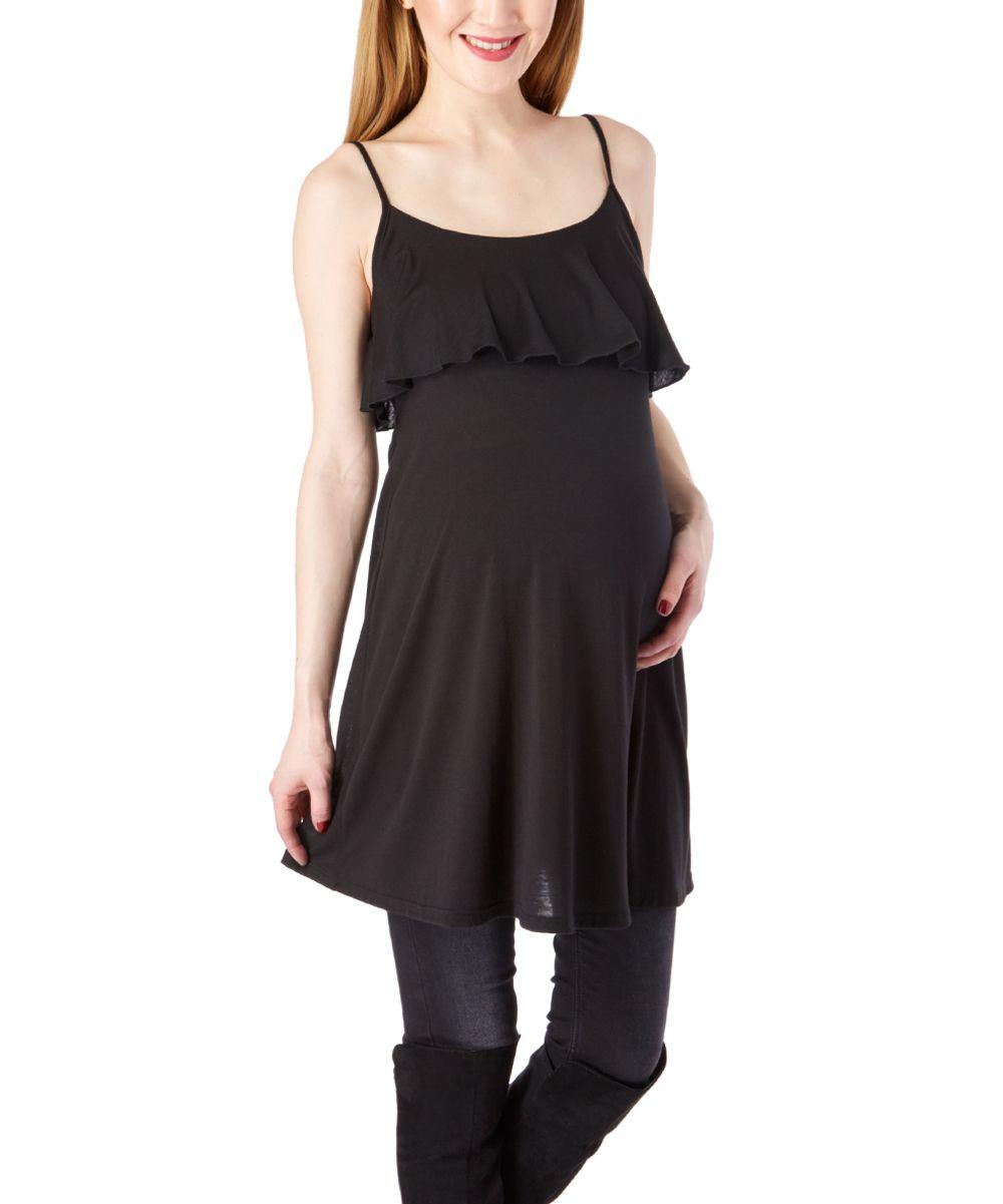Black Ruffle Yoke Maternity Tank Dress
