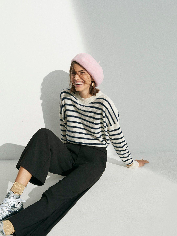 55f4fff405760 madewell cashmere sweatshirt worn with raymond pants