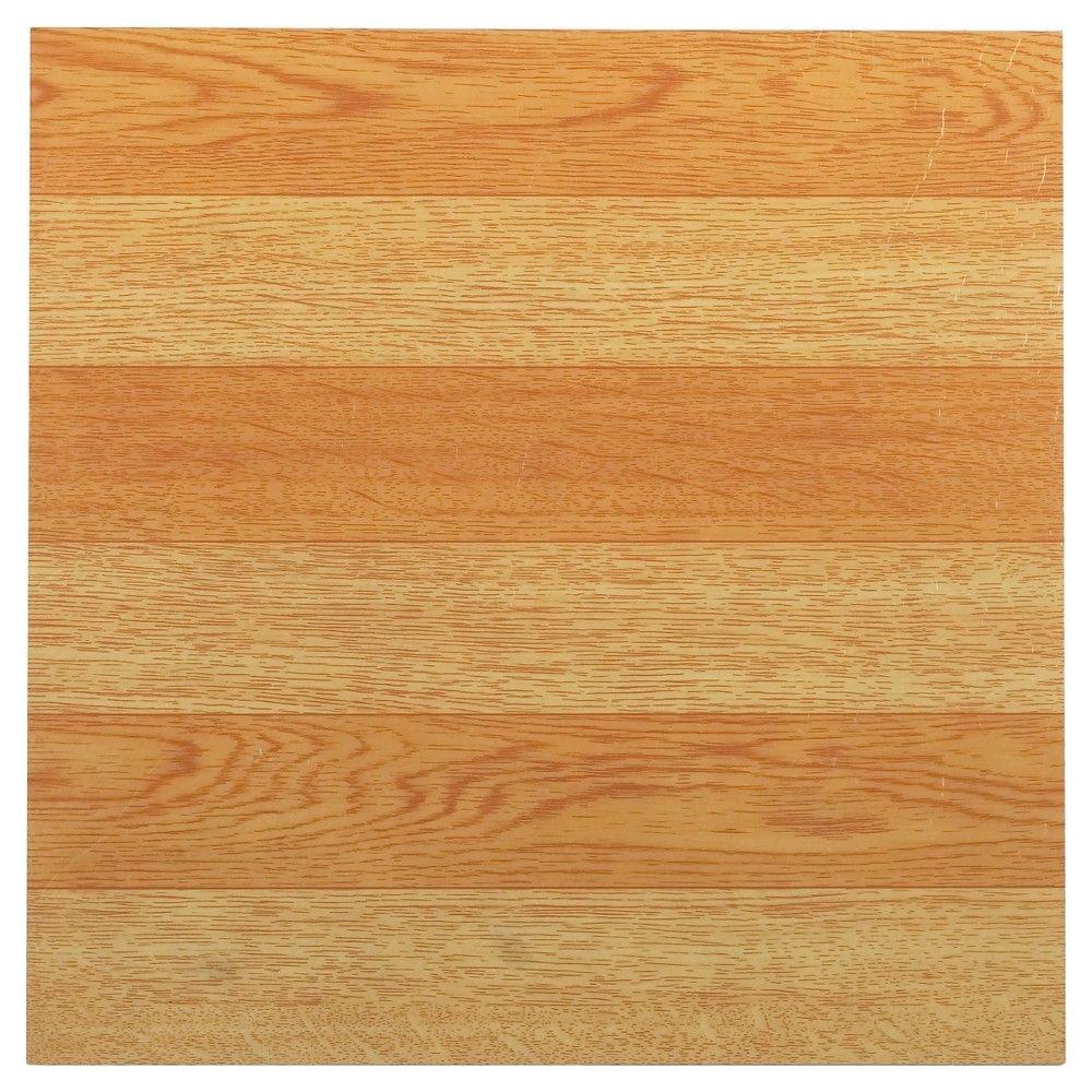 "Tivoli Self Adhesive Vinyl Floor 45 Tiles - Light Oak Plank-Look - (12""X12"") - Achim, Black/White"