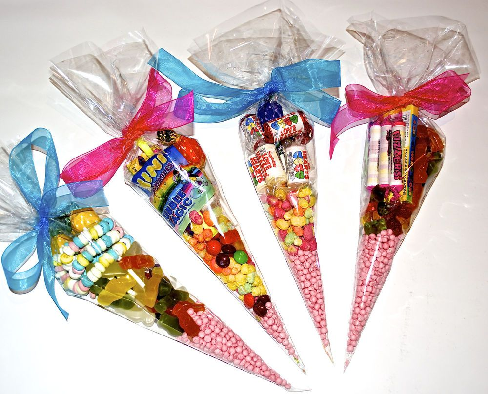 Large Clear Cellophane Sweet Cone Shaped Party Bags Favours Display Great Alternative To