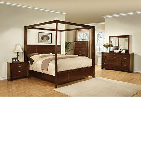 The Lucasta Collection Is A Sleek, Modern Bedroom Set, Complete With Four Poster  Canopy Bed. Made Of Quality Wood And Accented With Modern Metal Handles And  ...