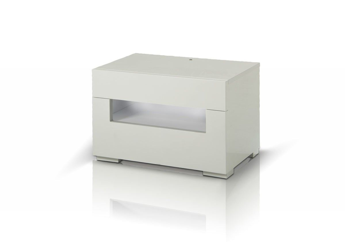 Best Ceres Modern White Lacquer Nightstand Bedroom Night 400 x 300
