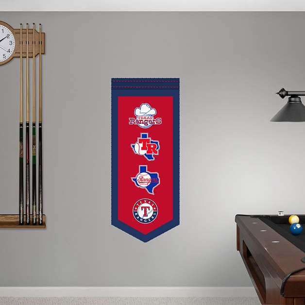 Texas Rangers Logo Evolution Banner REAL.BIG. Fathead Wall Graphic | Texas  Rangers Wall