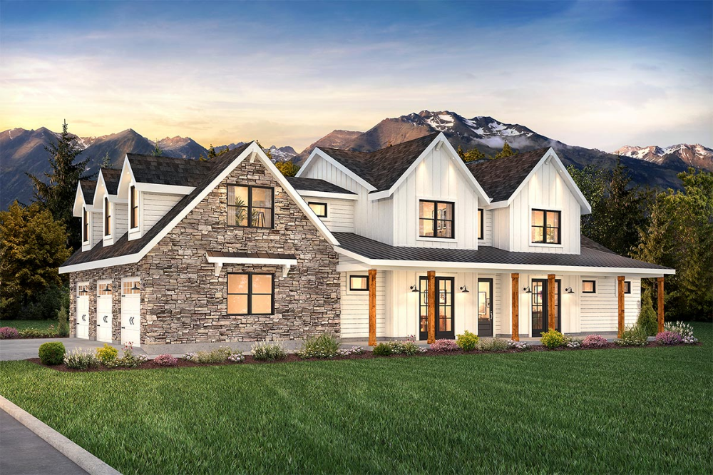 5-Bed Modern Farmhouse Plan with Laundry on Both F