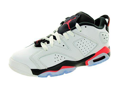 91dc3e2d378f63 Nike Jordan Kids Air Jordan 6 Retro Low Bg White Infrared 23-Black  Basketball
