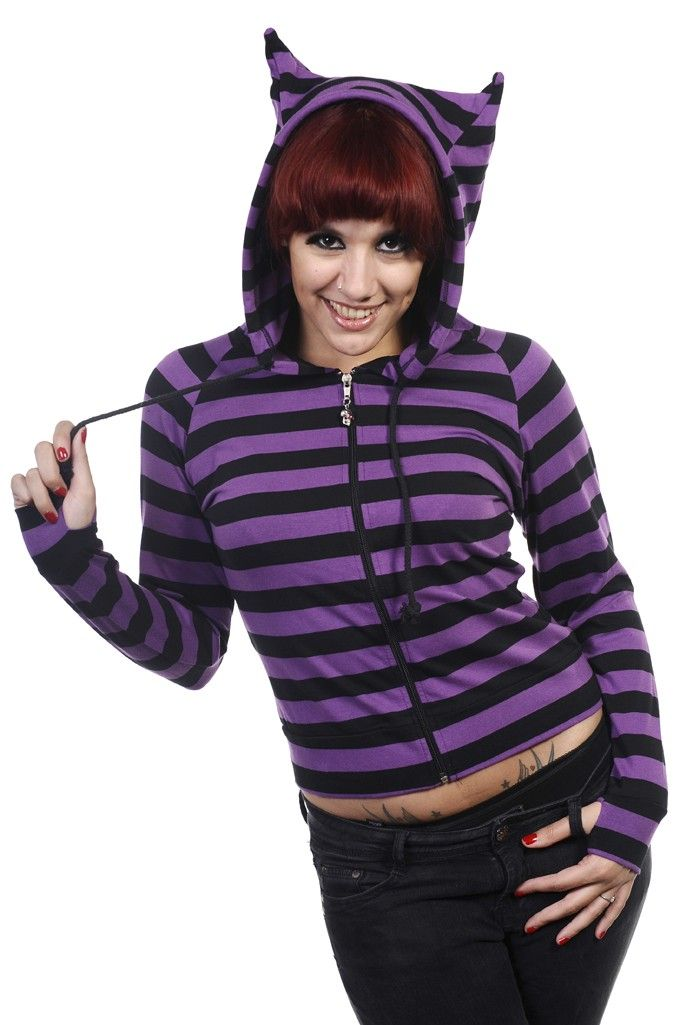 5f578c74 Banned Apparel Striped Cat (Black/Purple) Ladies Hoodie - Buy Online  Australia Beserk