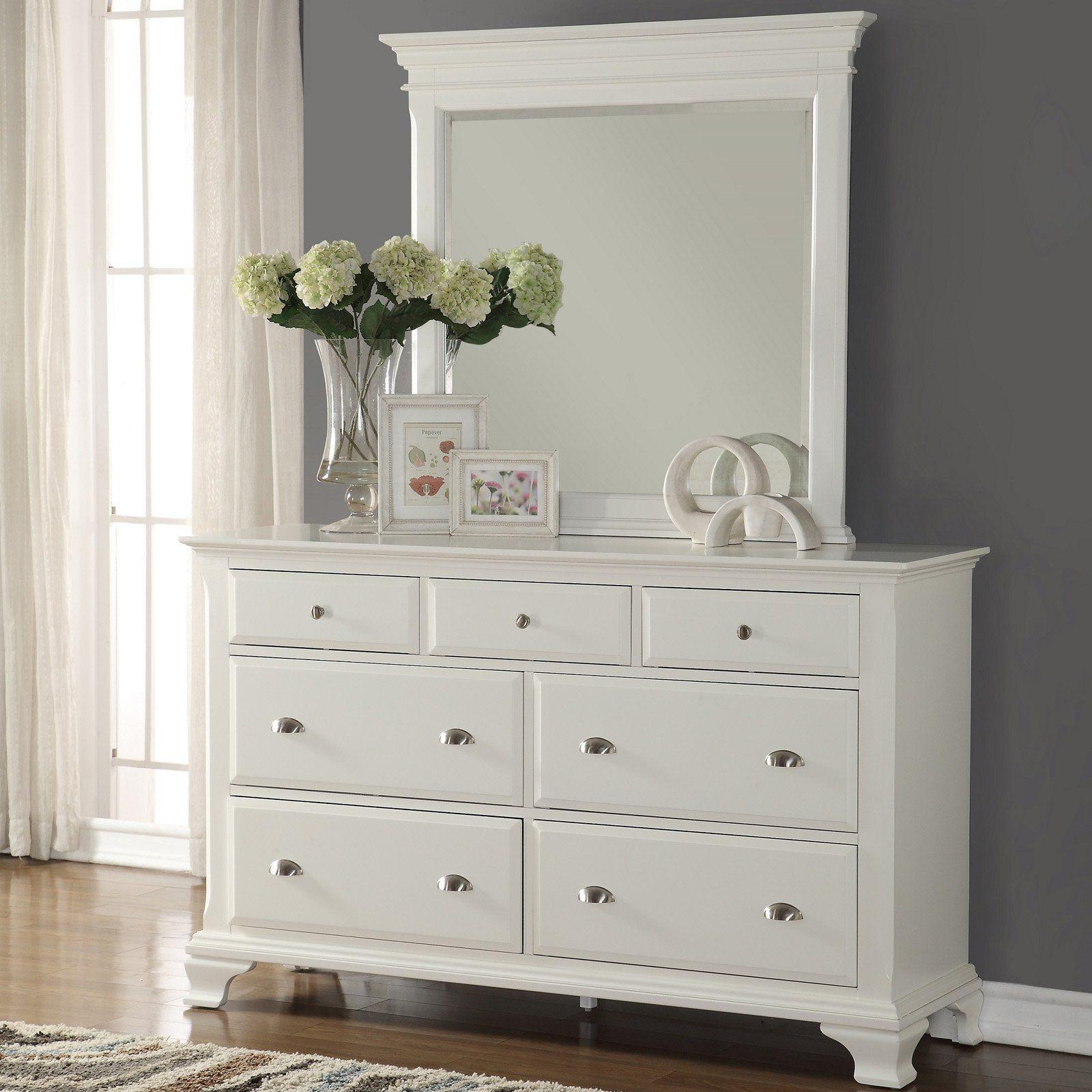 Roundhill Furniture Laveno White Wood 7 Drawer Dresser
