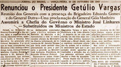 No dia 29 de outubro Getúlio Vargas não tinha maiscomo escapar: grande parte da população, principalmente os estudantes, ia às ruas clamando por liberdade e ... Visitar página  Visualizar imagem