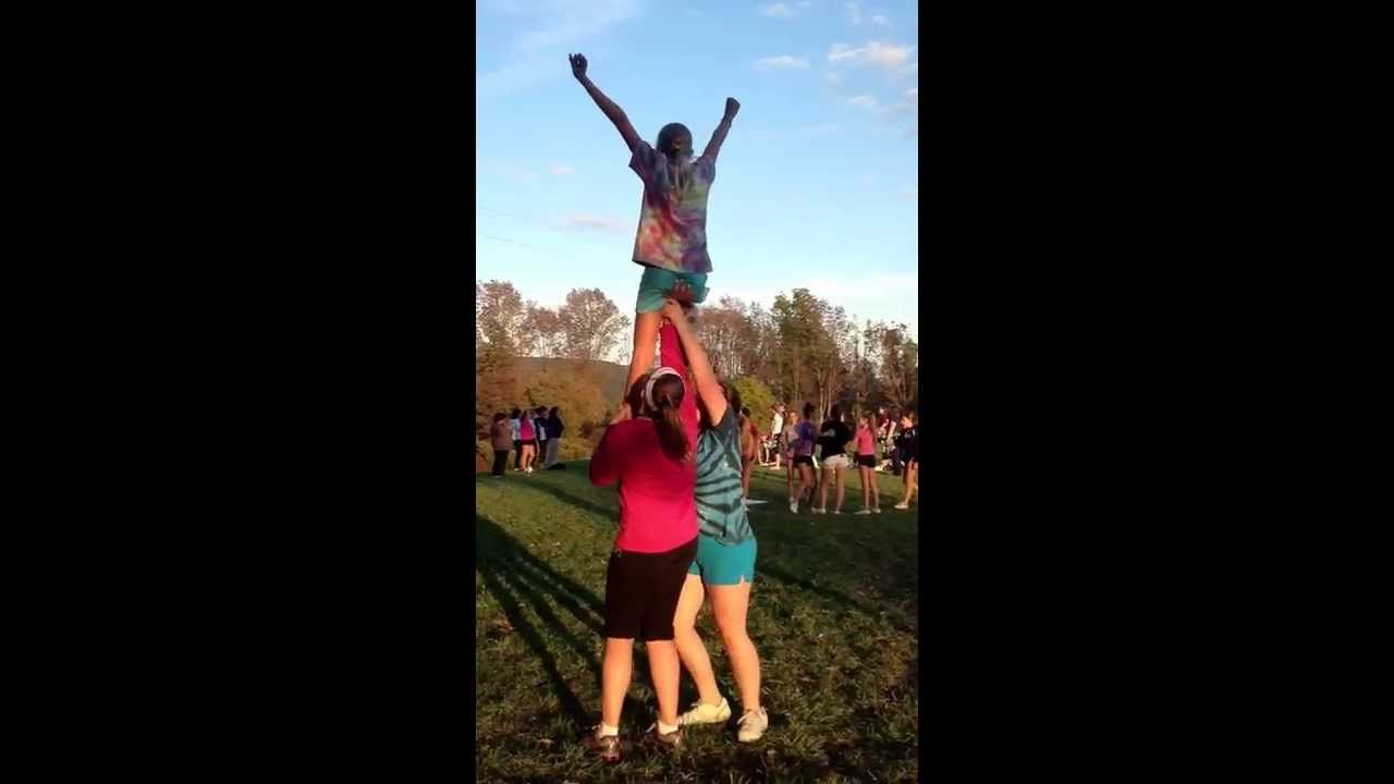 Chair Sit Cheerleading Stunt Cheerleading Stunt Cheer Stunts Stunts