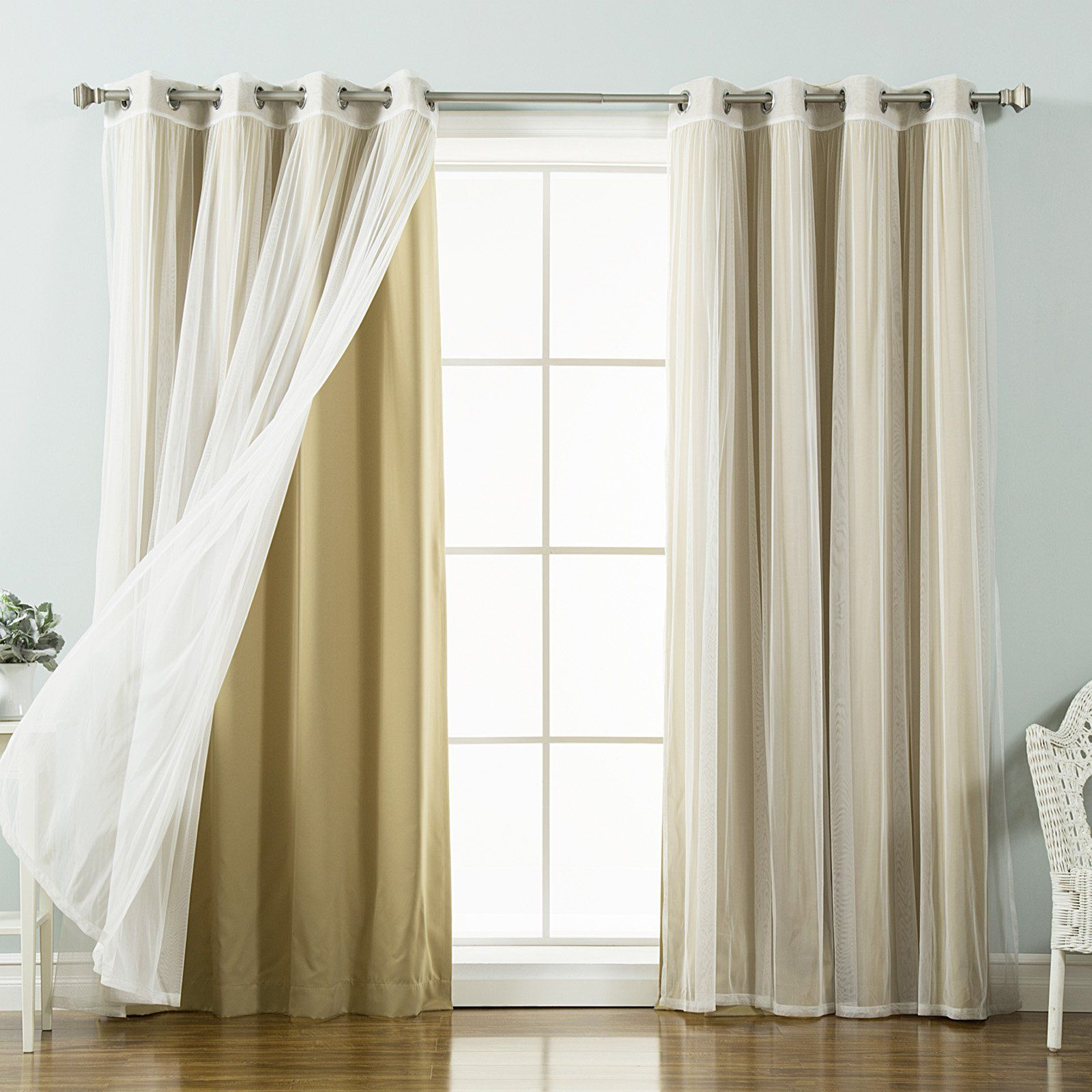 Best Home Fashion Mix Match Tulle Sheer Lace Blackout Curtain