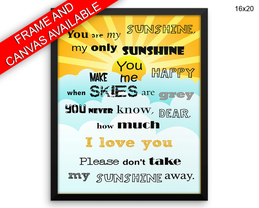 You Are My Sunshine Prints You Are My Sunshine Canvas Wall Art You ...