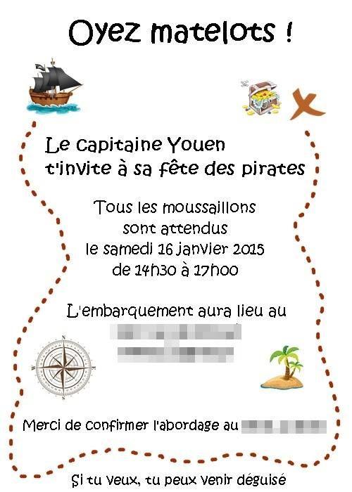 Texte De L Invitation Pour La Fete Des Pirates Bapteme Erwan En