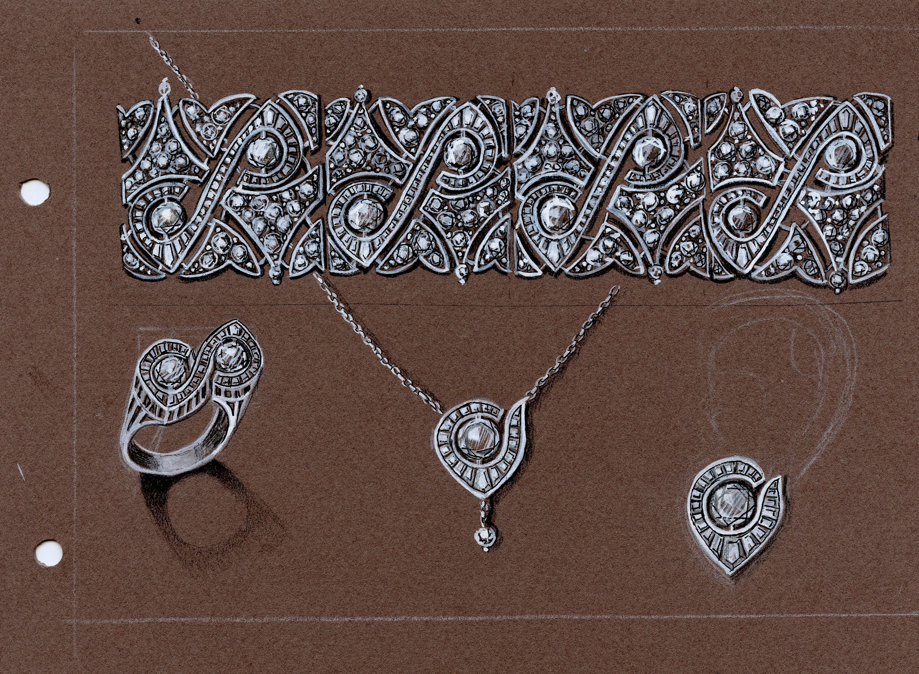 """""""Ritmo en diagonal"""". Conjunto de piezas a realizarse en oro blanco y diamantes. Alternativa de Costo: Plata 925 y zircón"""