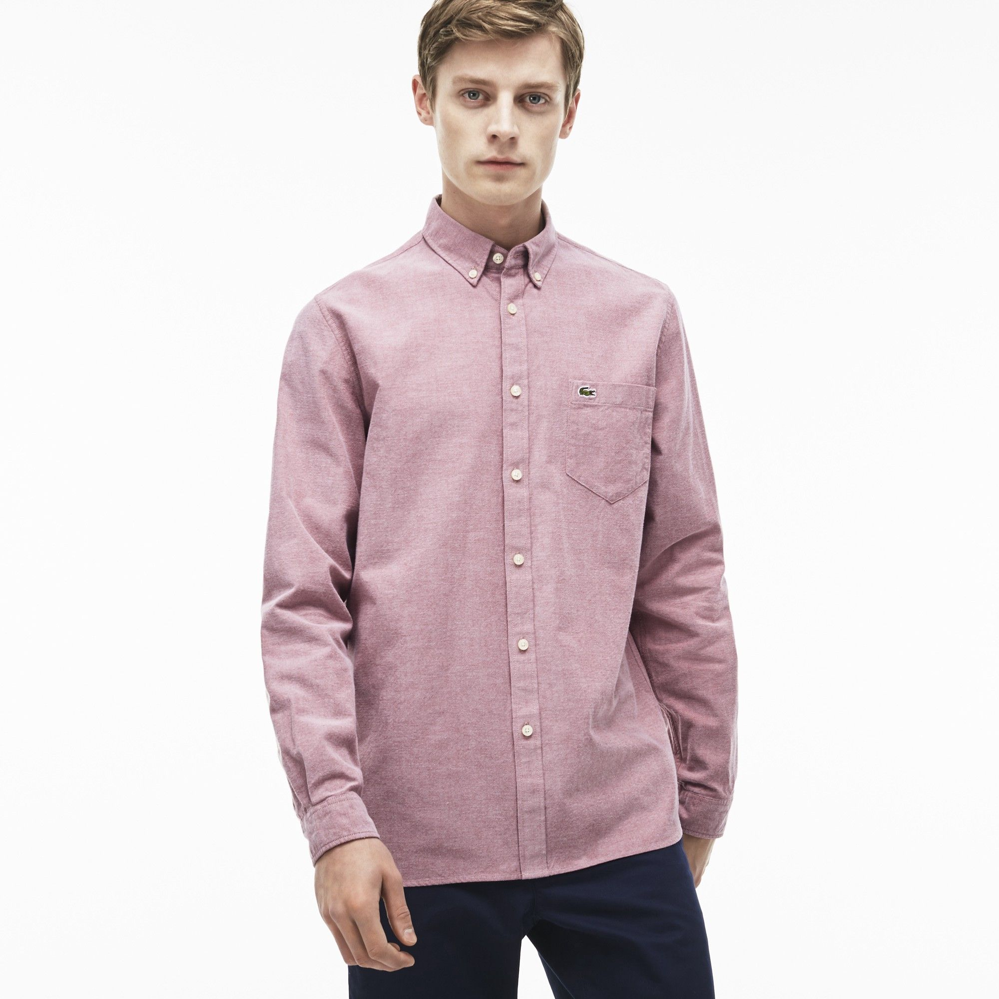 6b25f2759b LACOSTE Men's Regular Fit Oxford Cotton Shirt - autumnal red/white ...