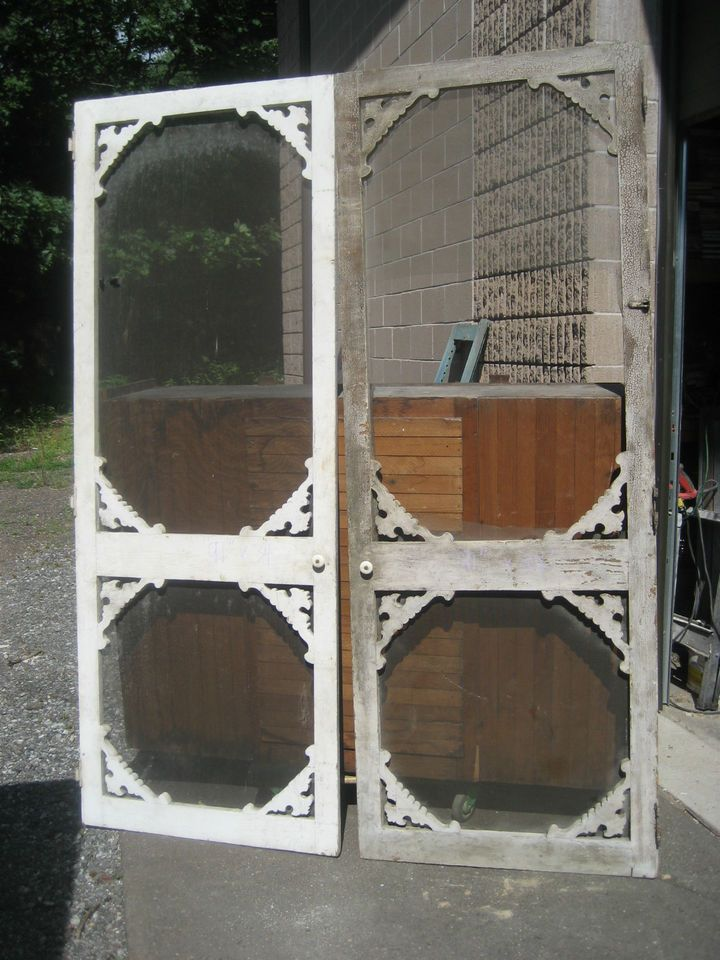 PAIR VICTORIAN c1890 FARMHOUSE screen doors SOLID no