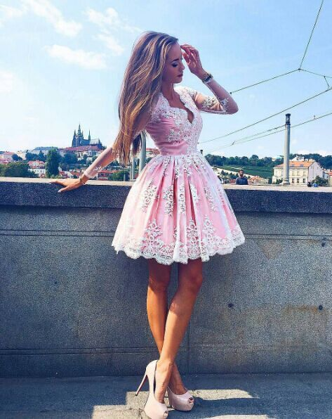 Knee Length Long Sleeves Pink Lace Homecoming Dress,Ball Gown Short Party Dress,Long Sleeves Lace Prom Dress,Pink Lace Graduation Dress,Long by DestinyDress, $166.73 USD