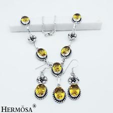 Unique Jewelry - Jewelry Sets Beauteous Citrine Toapz 925 Sterling Silver Necklace Earrings C7964