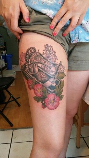 1886 Singer Sewing Machine tattoo from my Grandma -- done by Ash Timlin at Passages Tattoo, Toronto Canada