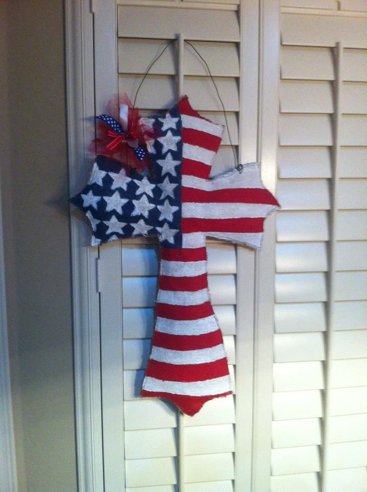 Patriotic Burlap Cross For Memorial Day 4th Of July Labor Day Veterans Day Etc Burlap