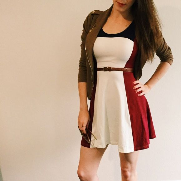 Express Color Block Tank Top Dress w/ Zipper Back This Express dress is so versatile! The tag reads Size XS, but it's a true Size Small. Belt not included. 95% Cotton 5% Spandex   Machine Wash Cold.  Express Dresses