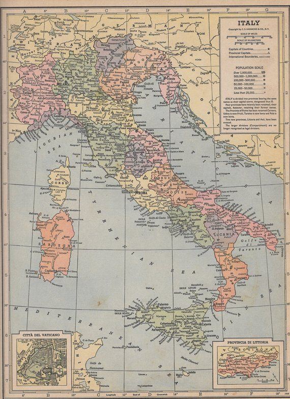 Map Of Spain Portugal And Italy.Vintage 1935 Atlas Map Of Spain Portugal And Italy Products