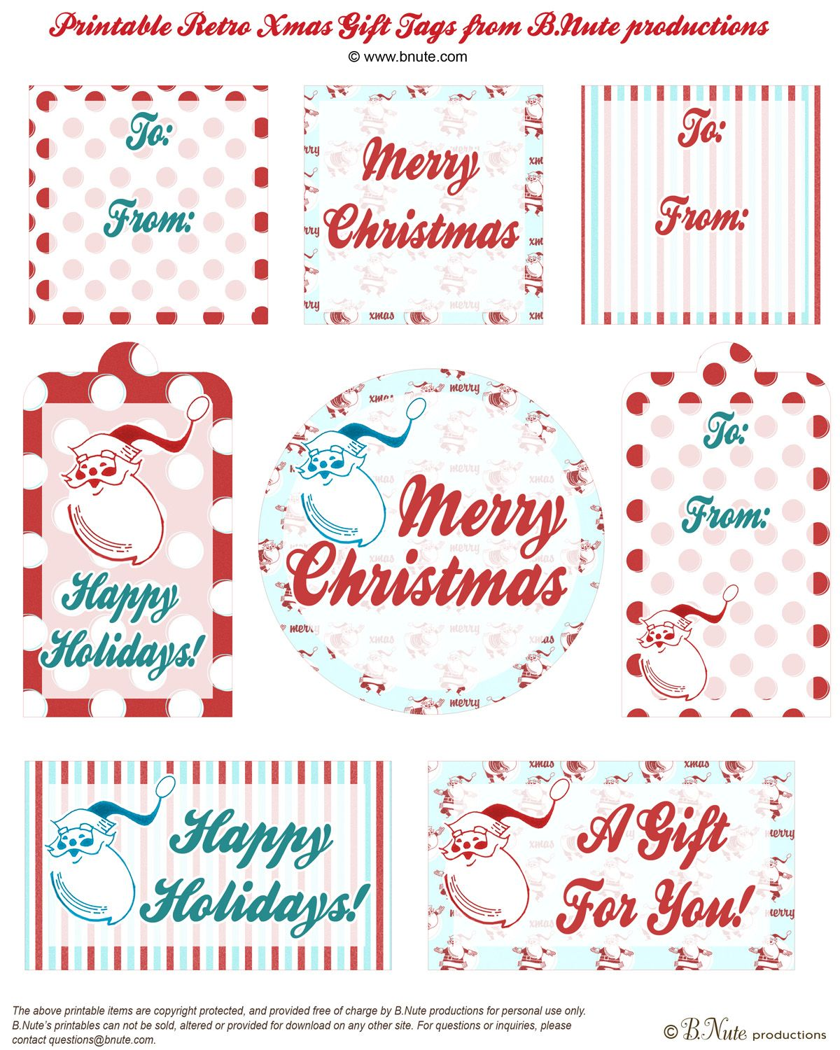 Free retro christmas gift tags vintage christmas pinterest free retro christmas printable gift tags by bte productions the holidays are coming fast and its time to wrap all those goodies negle Image collections