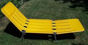 Vintage Kurz Retro Yellow Tubing Folding Lawn Chair Lounger Lounge Patio  Chair