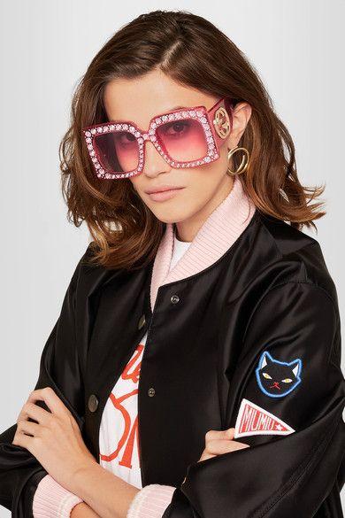 34b55acadb GUCCI Crystal-embellished square-frame acetate sunglasses  1