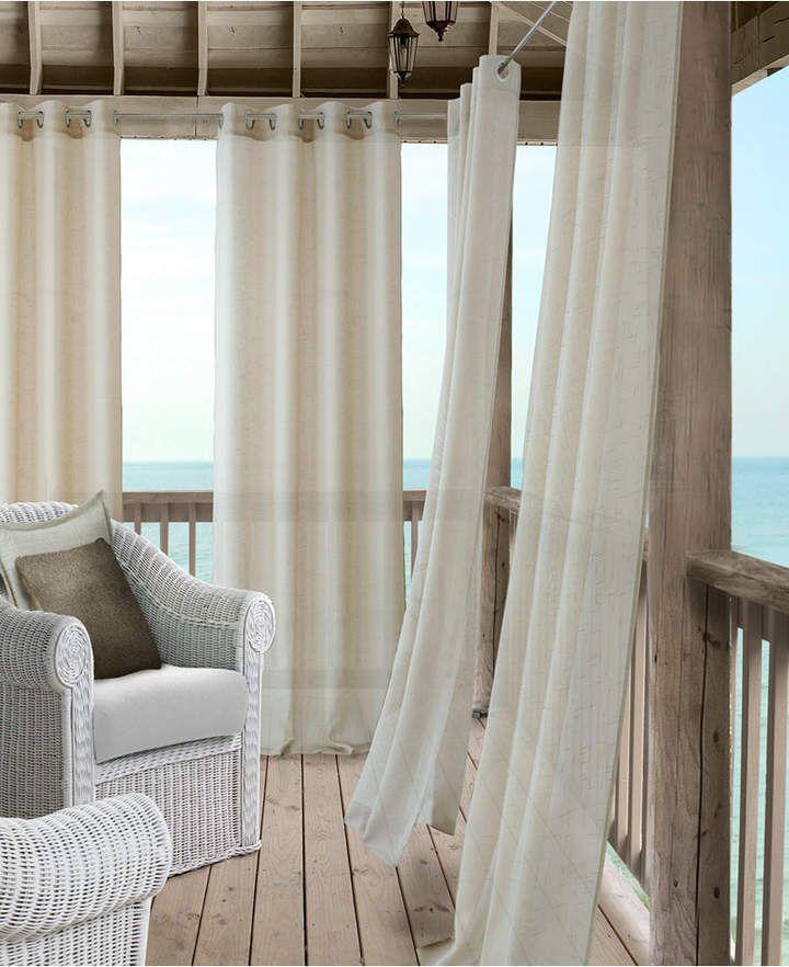 Elrene Bali Sheer 52 X 95 Indoor Outdoor Curtain Panel With