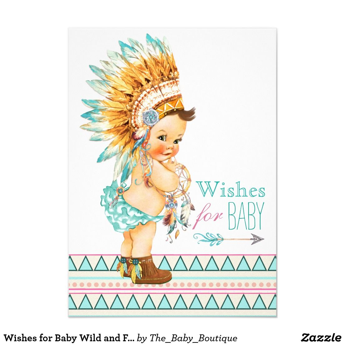 Wishes For Baby Wild And Free Baby Shower Card