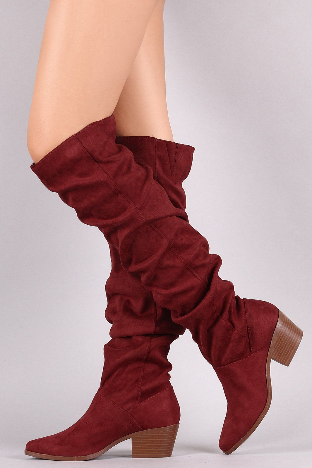 60060ba44d1f Qupid Suede Slouchy Almond Toe Over-The-Knee Boots