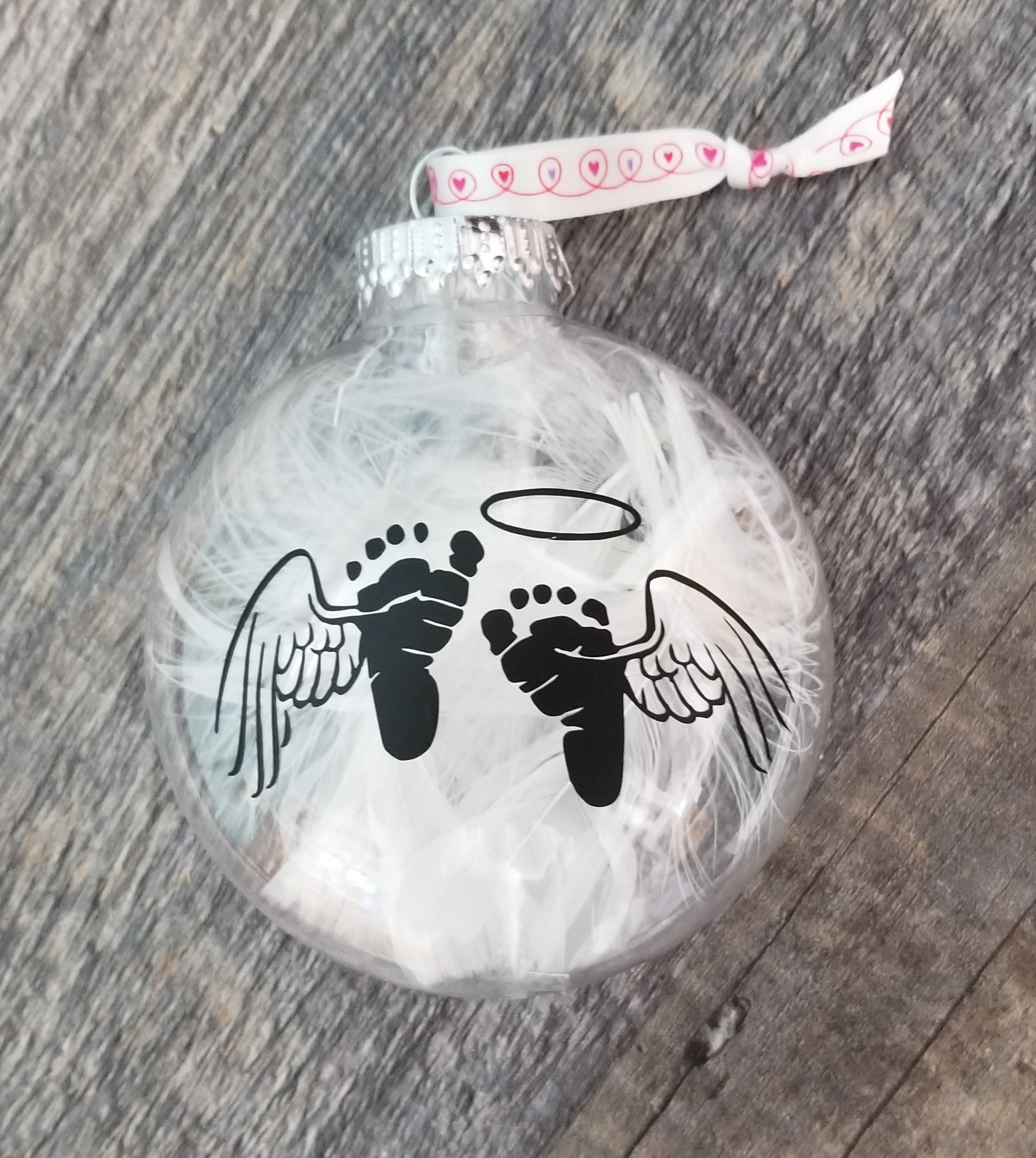 Large Memorial Ornament For Baby With Feathers Memorial Ornaments Baby Christmas Ornaments Baby Loss Ornament