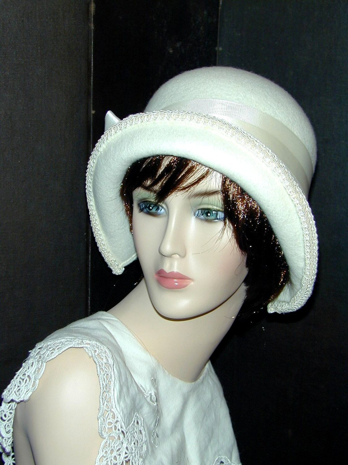 7ad74580d1118 This beautiful convertible cloche may be worn 3 different ways  brim ...
