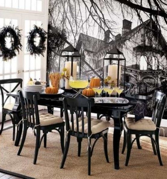 captivating spooky home interior design feats elegant halloween decor frightening dining room interior design in halloween black white color scheme added - Classy Halloween Decorations